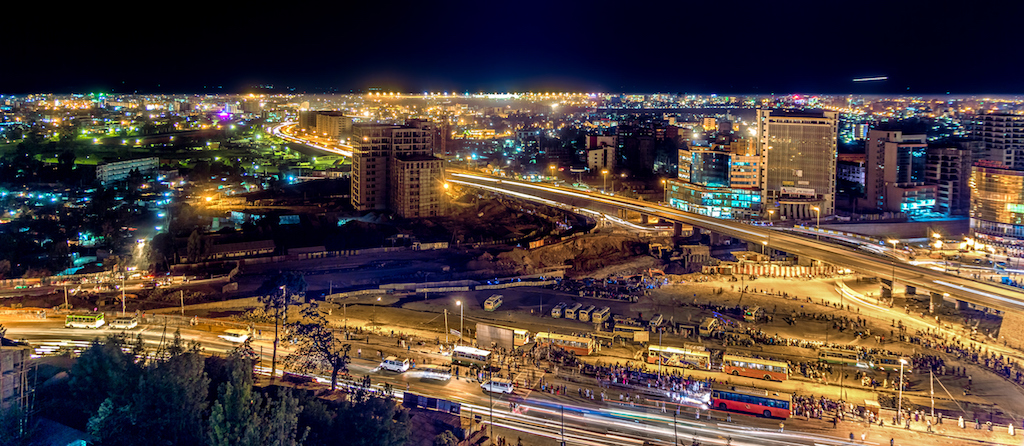 Aerial view of the city of Addis Ababa at night